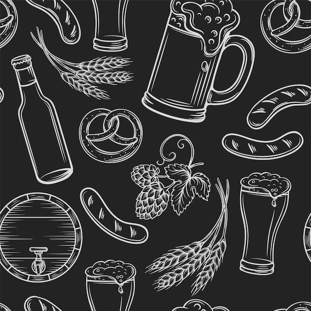 Modèle Sans Couture De Bière. Disposition De Pub Noir, Gravure D'icônes De Bière. Vecteur Premium