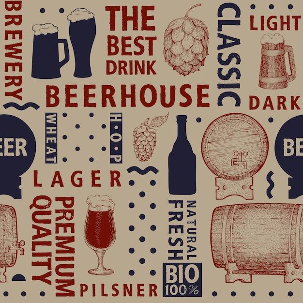 Modèle sans couture de bière vecteur typographique Vecteur Premium
