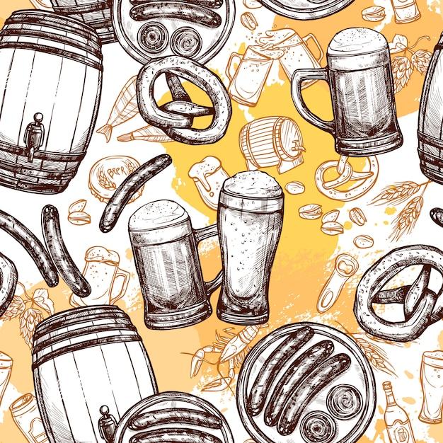 Modèle Sans Couture De Bière Vecteur gratuit