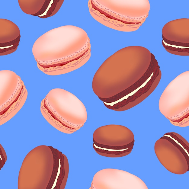 Modèle Sans Couture Avec Des Biscuits Macarons Colorés Sur Fond Blanc. Vecteur Premium