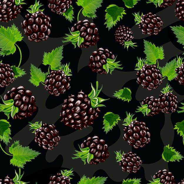 Modèle sans couture de blackberry vector. Vecteur Premium