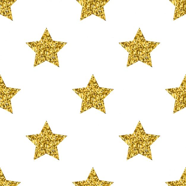 Modèle sans couture blanc étoiles paillettes d'or blanc Vecteur Premium