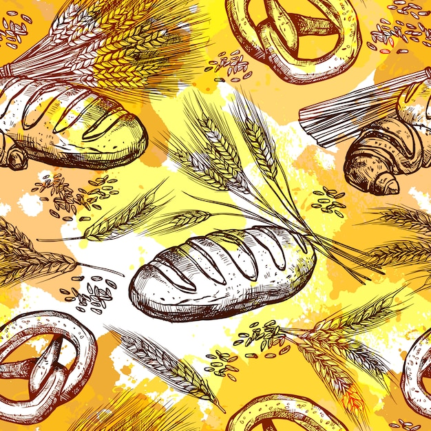 Modèle sans couture de blé Vecteur gratuit