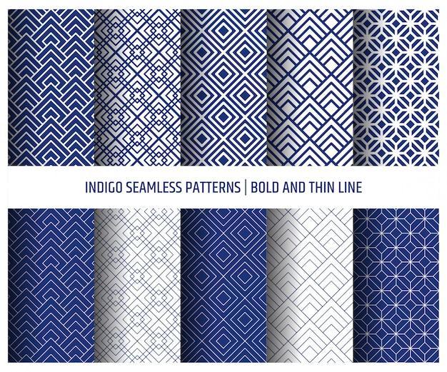 Modèle Sans Couture Bleu Indigo, Papier Peint Vecteur Premium