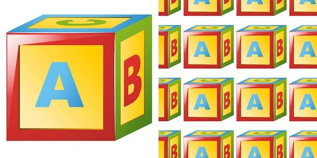 Modèle Sans Couture Avec Bloc Alphabet Vecteur Premium