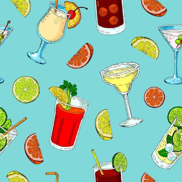 Modèle sans couture de boissons alcoolisées. mojito, bloody mary et cuba libre. modèle de cocktails exotiques, impression de boisson. Vecteur Premium