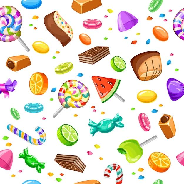 Modèle Sans Couture De Bonbons Sucrés Vecteur gratuit