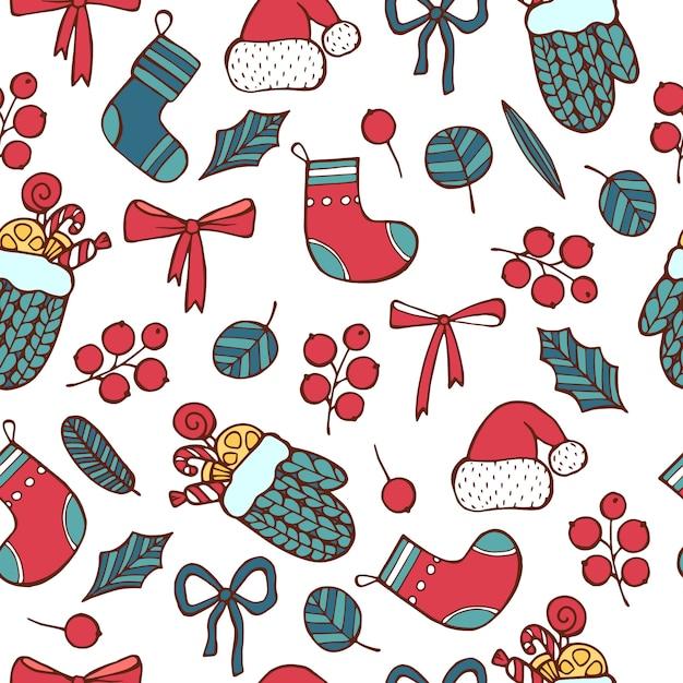 Modèle Sans Couture Bonne Année, Jour De Noël Vecteur Premium