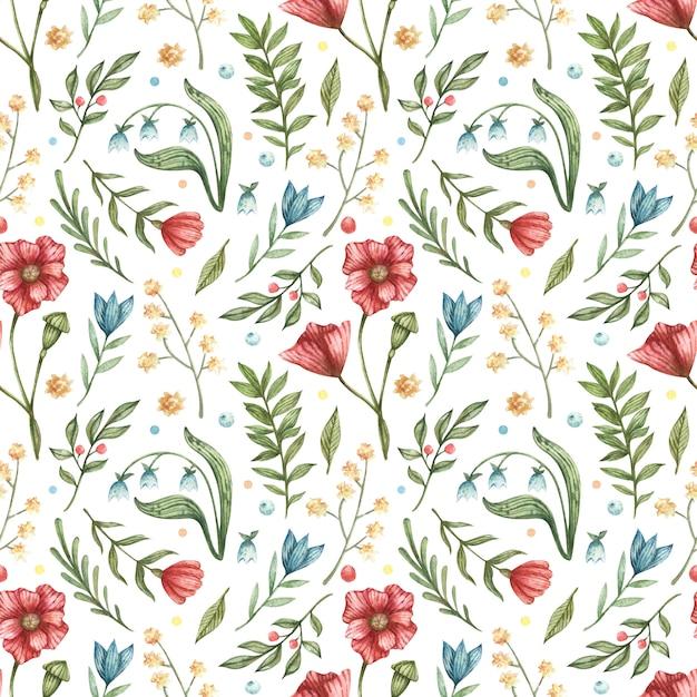 Modèle Sans Couture Botanique Aquarelle. Illustration De Bleu, Rouge, Fleurs (cloches, Coquelicots, Baies, Feuilles Vertes, Branches) Vecteur Premium
