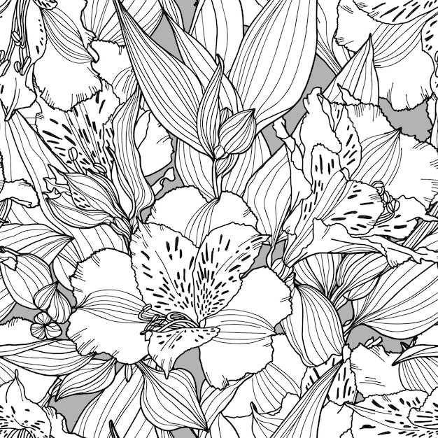 Modèle sans couture botanique avec des fleurs, des feuilles et des branches dans les couleurs blancs, noirs et gris. Vecteur Premium