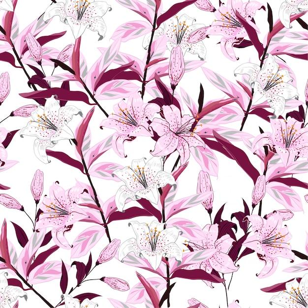 Modèle sans couture botanique de fleurs de lys en fleurs Vecteur Premium