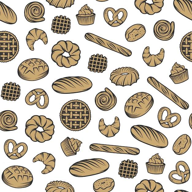 Modèle Sans Couture De Boulangerie Avec Des éléments Gravés. Vecteur Premium