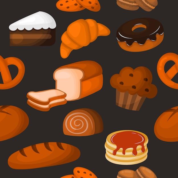 Modèle sans couture de boulangerie mignon. desserts pour café ou pâtisserie. illustration vectorielle Vecteur Premium