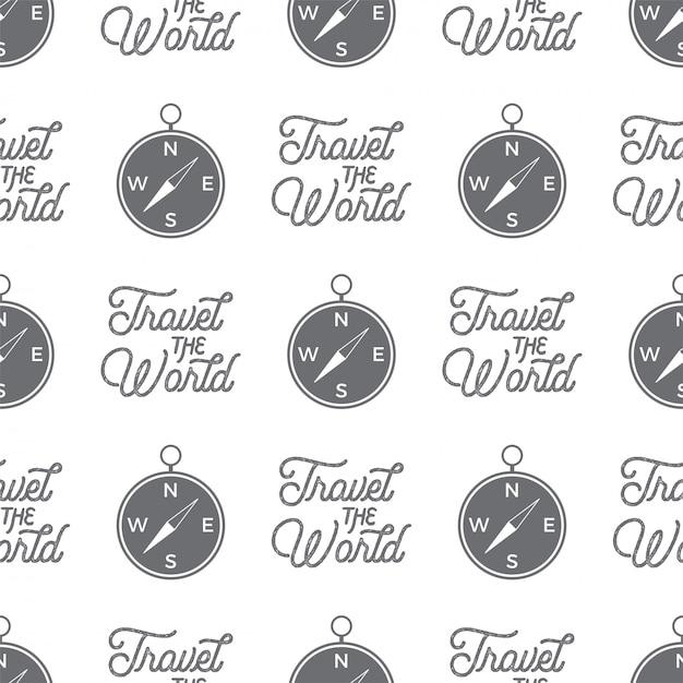 Modèle sans couture de boussole de voyage. modèle de papier peint de voyage le monde Vecteur Premium