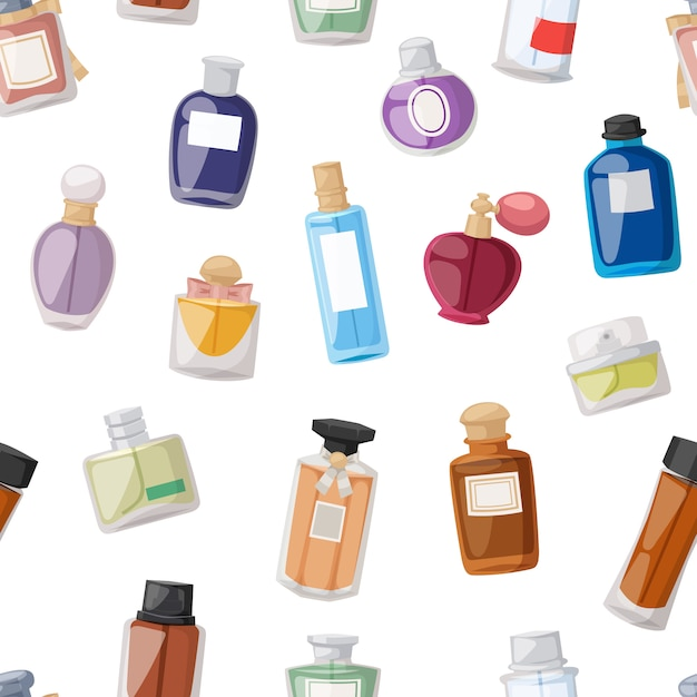 Modèle Sans Couture De Bouteille De Parfum Vecteur Premium