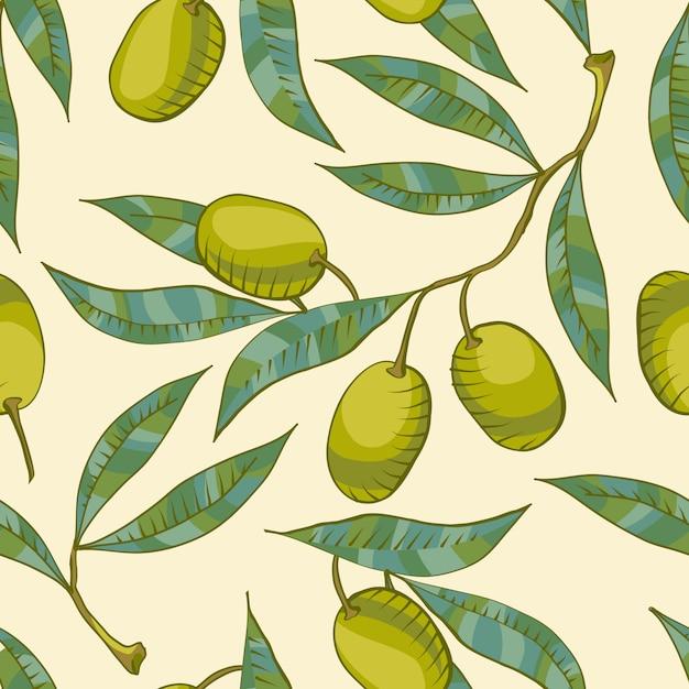 Modèle sans couture avec branche d'olivier et olive verte Vecteur gratuit