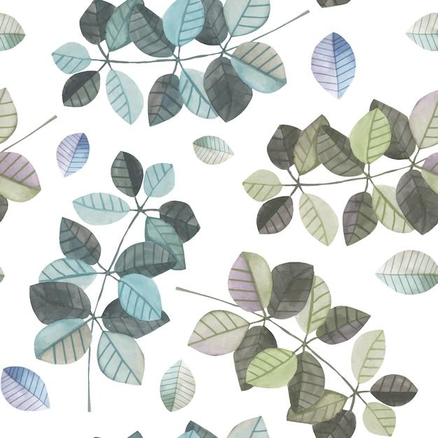 Modèle sans couture avec des branches aquarelles bleues et grises Vecteur Premium