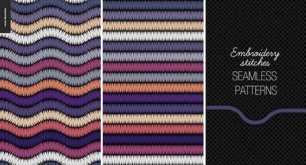 Modèle sans couture broderie au point de satin Vecteur Premium