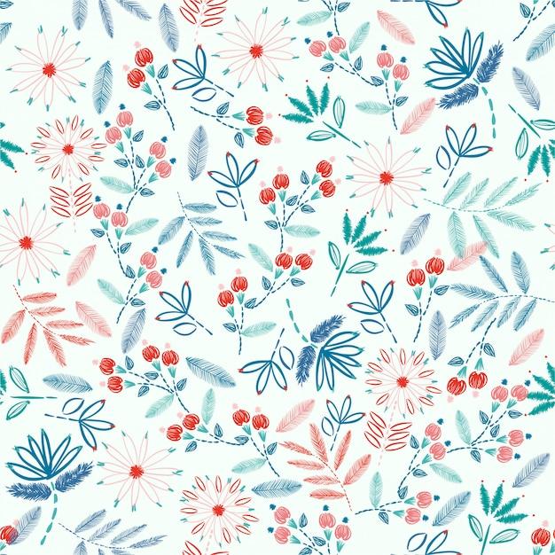 Modèle sans couture de broderie colorée avec illustration vectorielle de liberté petites fleurs décoration. éléments dessinés à la main. design pour la décoration intérieure, la mode, les tissus, l'emballage, le papier peint et tous les imprimés Vecteur Premium