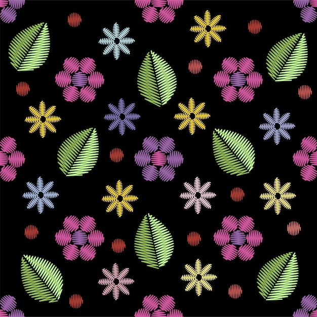Modèle sans couture de broderie avec des fleurs. Vecteur Premium
