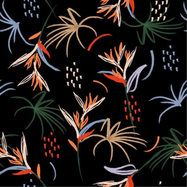 Modèle sans couture de brosse de forêt coloré fleur dessiné à la main Vecteur Premium