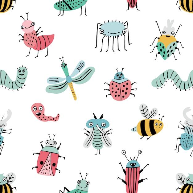 Modèle Sans Couture Avec Bug Drôle. Fond Avec Des Insectes De Dessin Animé Heureux. Impression Colorée Dessinée à La Main. Vecteur Premium