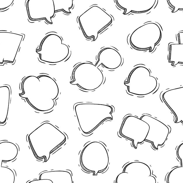 Modèle sans couture de bulles de parole mignonne avec style doodle Vecteur Premium