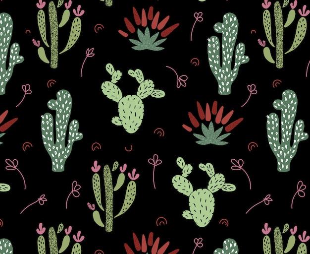 Modèle sans couture de cactus africain de dessin animé Vecteur Premium
