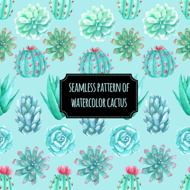 Modèle sans couture de cactus aquarelle Vecteur Premium