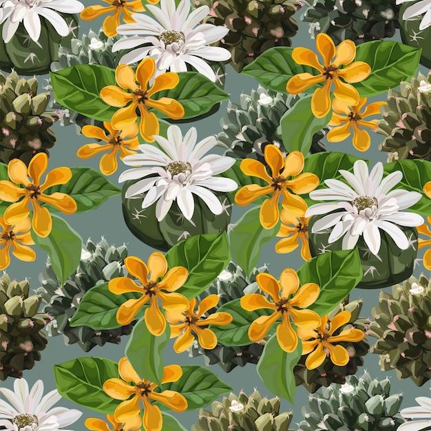 Modèle sans couture avec les cactus et gardenia carinata wallich Vecteur Premium