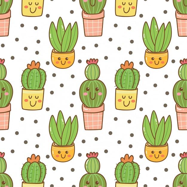 Modèle sans couture de cactus kawaii dessiné à la main Vecteur Premium