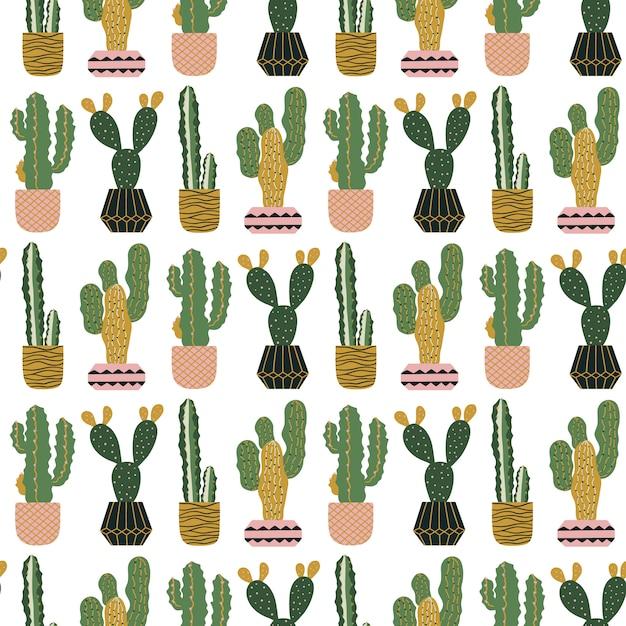 Modèle sans couture avec des cactus en pots. Vecteur Premium