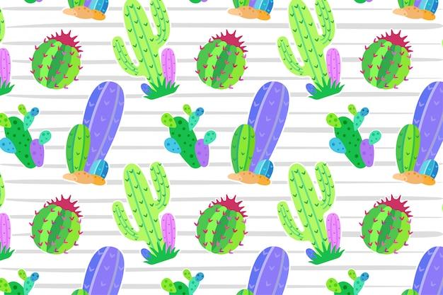 Modèle sans couture de cactus Vecteur Premium