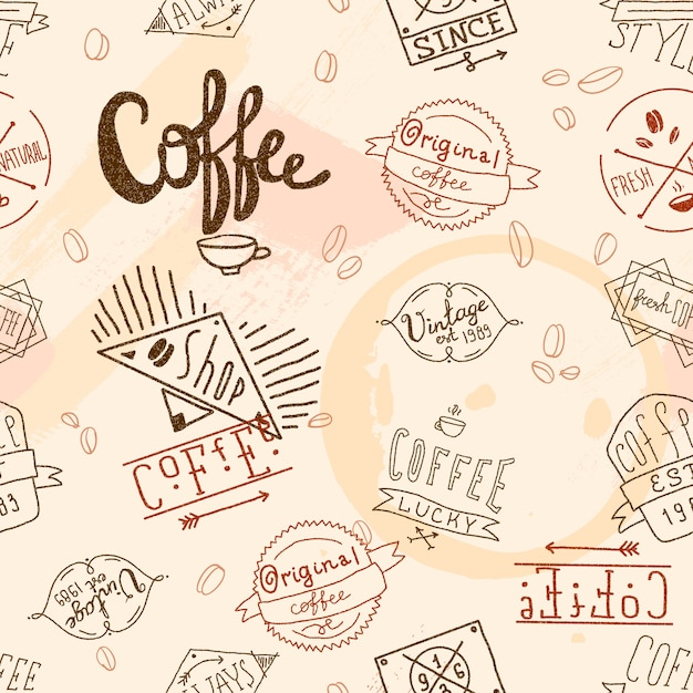 Modèle sans couture de café rétro vintage Vecteur gratuit
