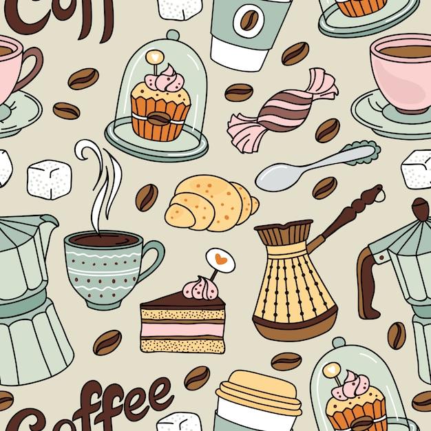 Modèle sans couture avec café et sucré. fond de café Vecteur Premium