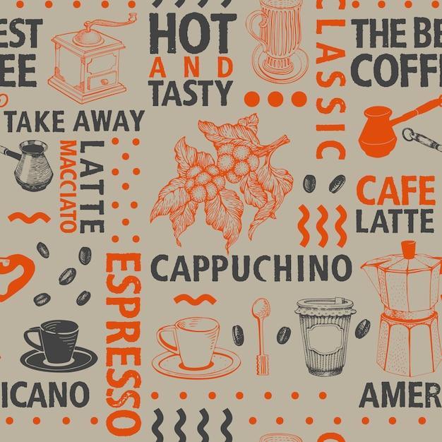 Modèle sans couture de café vecteur typographique Vecteur Premium