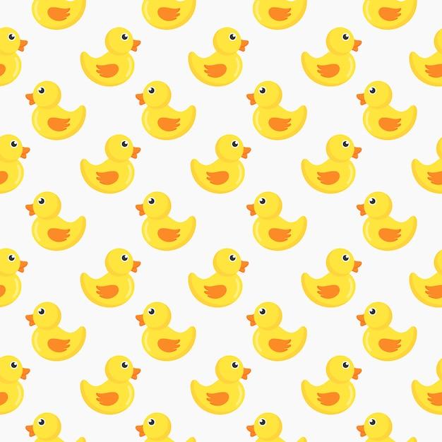 Modèle sans couture de canards mignons isolé sur fond blanc. Vecteur Premium