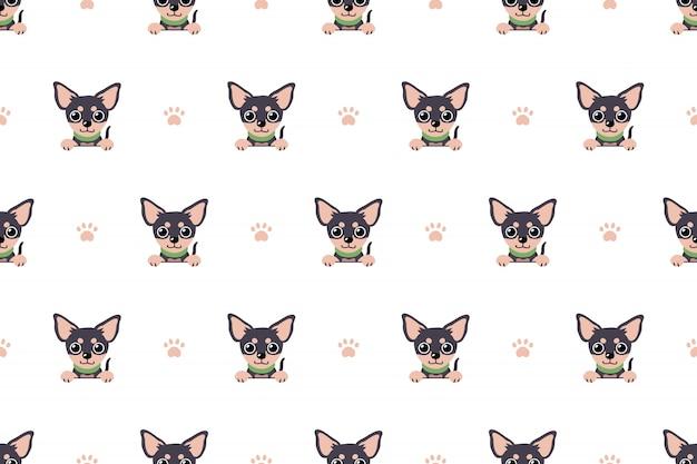 Modèle sans couture de caractère chihuahua chien Vecteur Premium