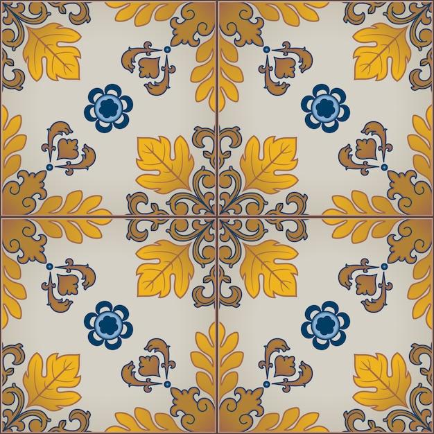 Modèle sans couture avec des carreaux azulejo portugais. Vecteur Premium