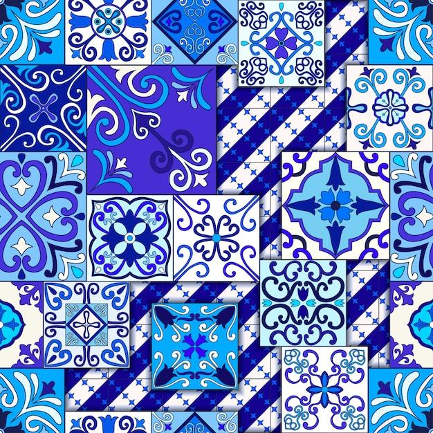 Modèle sans couture de carreaux de maroc bleu et blanc. Vecteur Premium