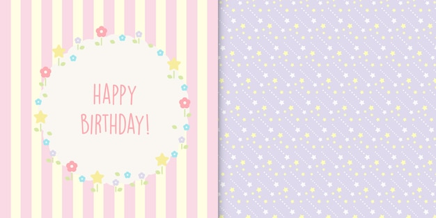 Modèle sans couture carte et étoiles floral mignon joyeux anniversaire Vecteur Premium