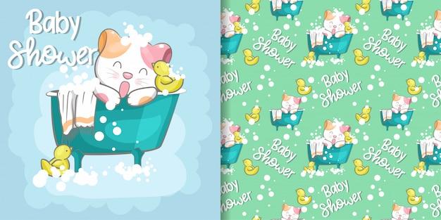 Modèle sans couture de chat mignon bébé douche et carte d'illustration Vecteur Premium