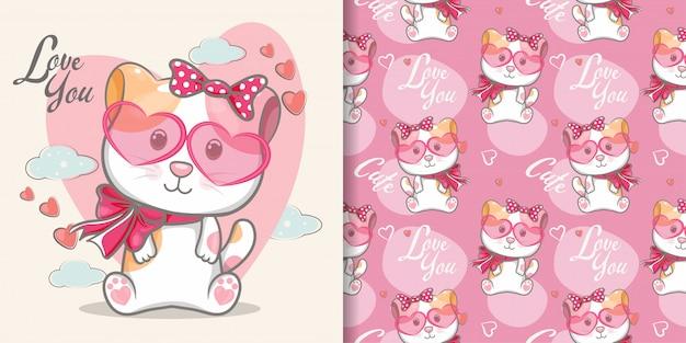 Modèle sans couture de chat mignon et carte d'illustration Vecteur Premium