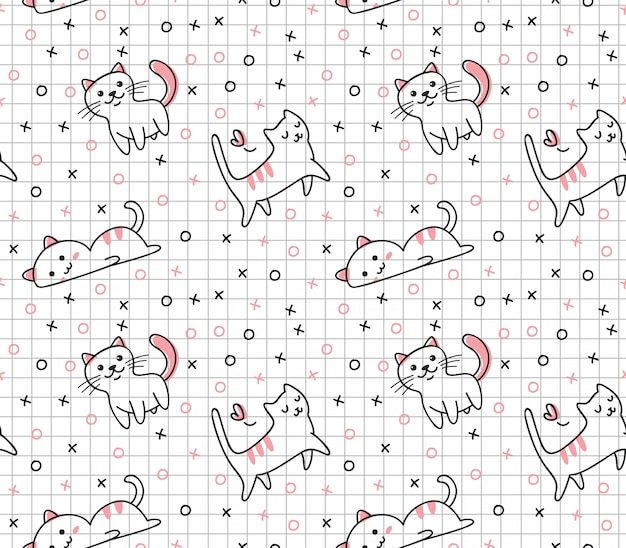 Modèle sans couture de chat mignon dans un style kawaii doodle Vecteur Premium