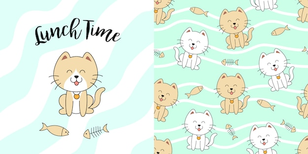 Modèle sans couture chat mignon dessiné à la main Vecteur Premium