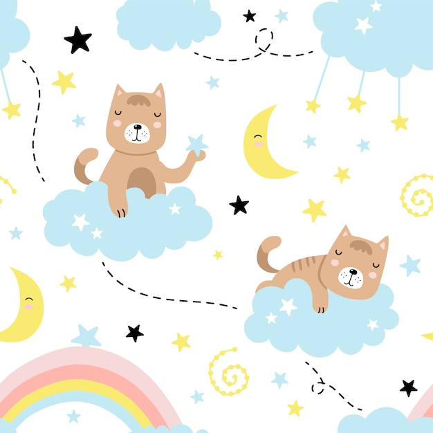 Modèle sans couture avec chat mignon, nuages, étoiles, lune, arc en ciel Vecteur Premium