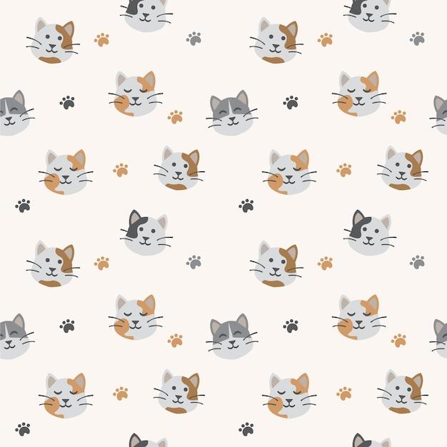 Modèle sans couture de chat mignon Vecteur Premium