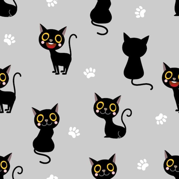 Modèle sans couture de chat noir mignon Vecteur Premium
