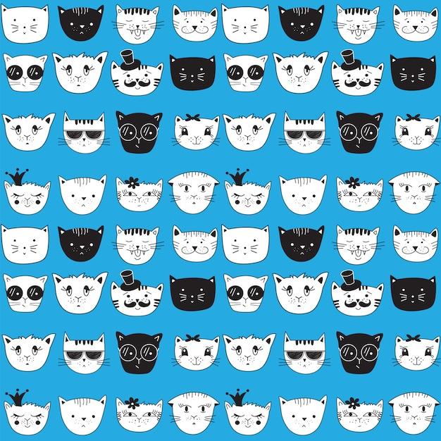 Modèle sans couture avec des chats de doodle. Vecteur Premium