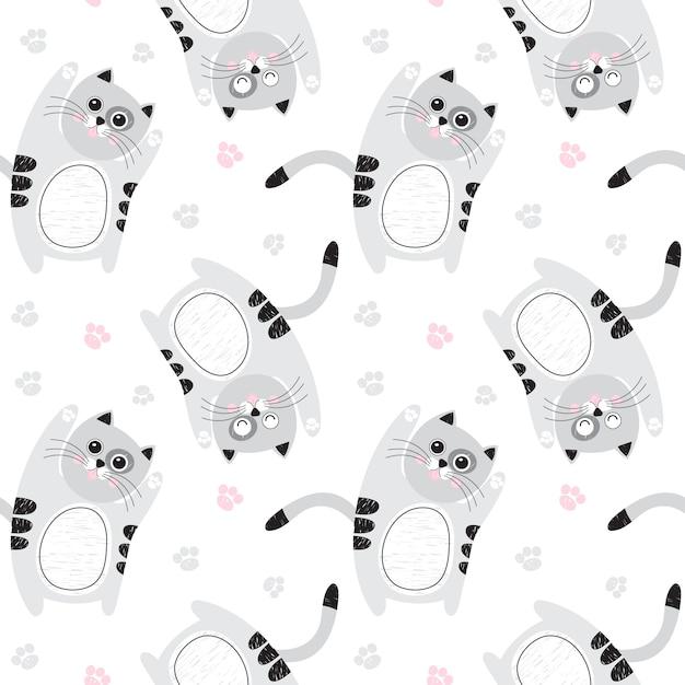 Modèle sans couture avec des chats gris mignons Vecteur Premium